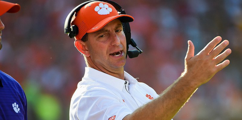 Dabo Swinney's Tigers need to win out to advance to ACC title game