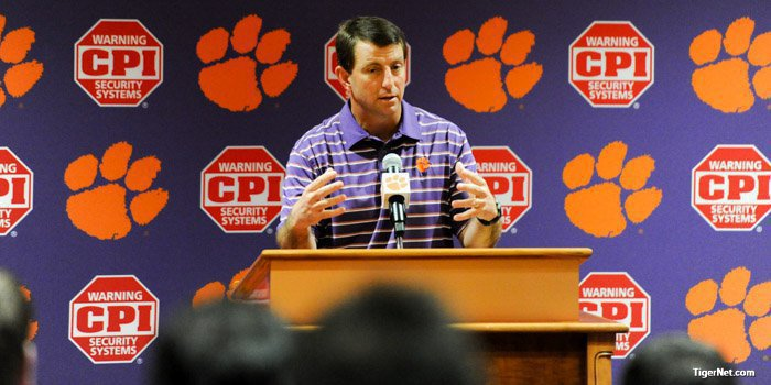 Swinney talks to the media Wednesday