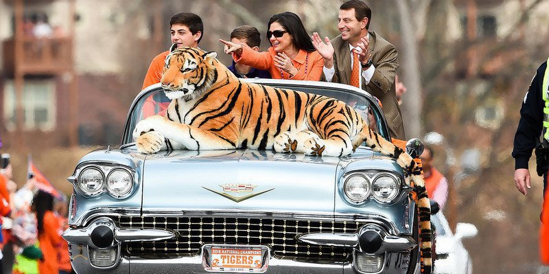 The Swinney family rides in the National Championship parade