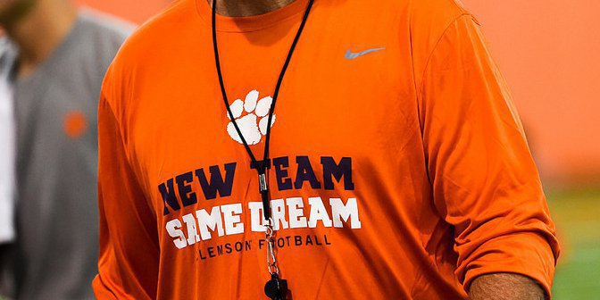 The team wears the shirts with head coach Dabo Swinney's new slogan