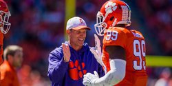 Venables on defense during scrimmage: