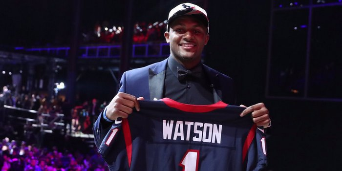 Watson smiles after being selected by the Texans