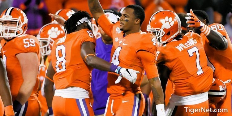 Watson getting a standing ovation by the Clemson crowd