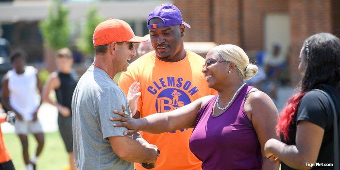 New Clemson commit Darnell Jefferies talks with Dabo Swinney.