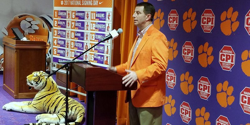 Clemson's Dabo Swinney wishes the period would be moved back to August