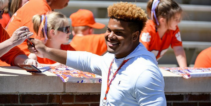 Thomas shows his charisma at the spring game two weeks ago