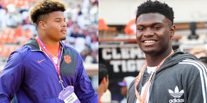 Xavier Thomas (L) told Zion Williamson (R) to come to Clemson and make history