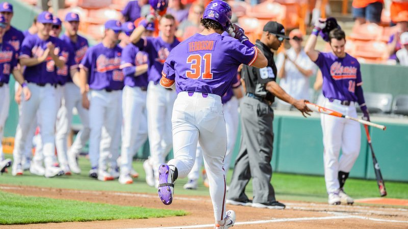 Teodosio rounds the bases after the first homer of his career