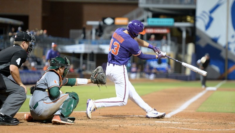 Wharton connects on his sixth  inning homer that put Clemson ahead 2-1
