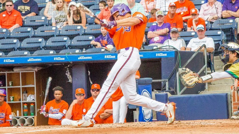 Drew Wharton takes an early swing against Notre Dame (Photo by Christopher Sloan)
