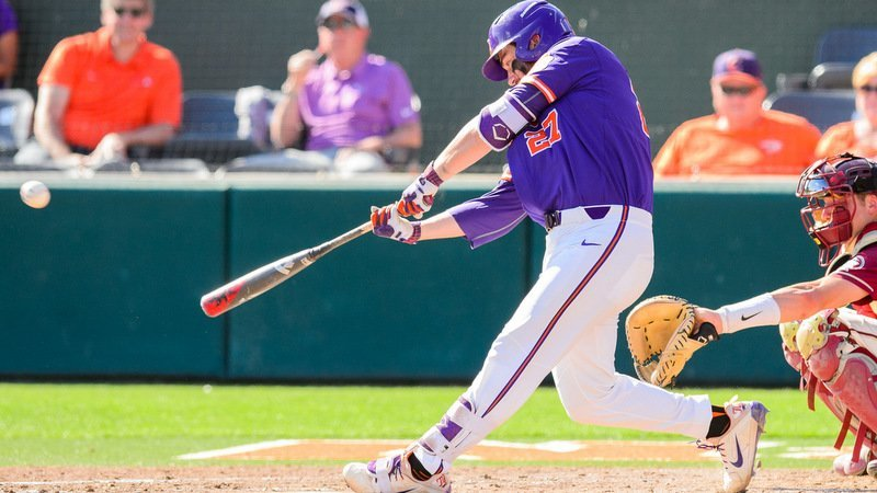 Chris Williams connects on a homer against FSU Sunday (Photo by David Grooms)