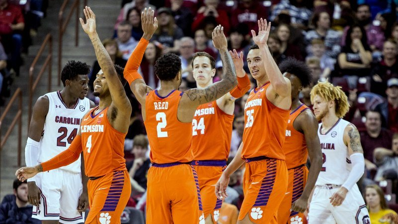 Clemson celebrates an early basket at South Carolina (Photo by Jeff Blake, USAT)