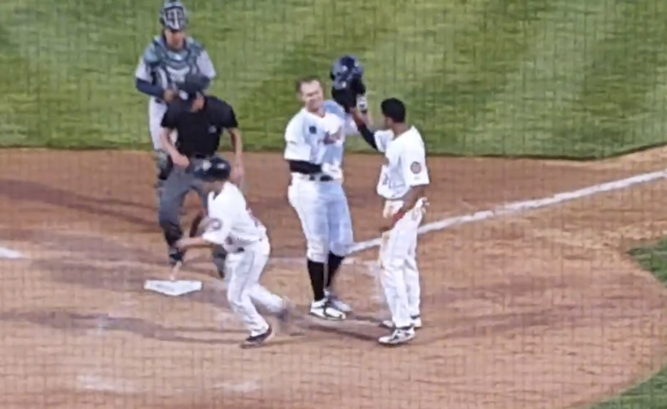 WATCH: Beer hits HR for first pro hit