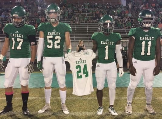 Easley HS honors C.J. Fuller's memory at coin-toss