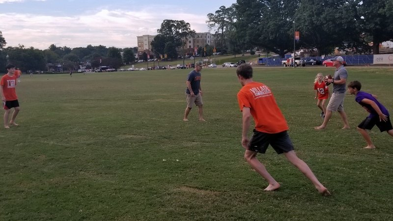Playing football on Bowman Field last Friday