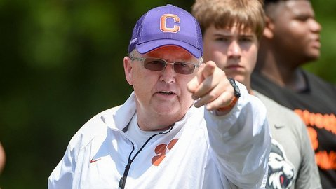 Clemson O-line coach Robbie Caldwell was a three-year letterman for the Paladins.