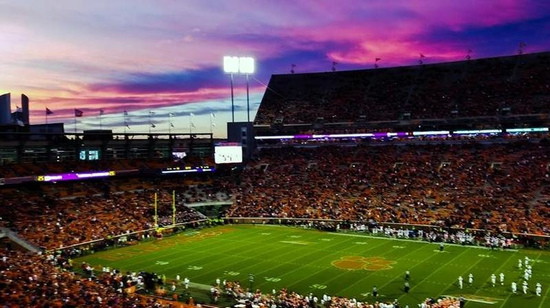 Clemson fans were treated to a colorful display in the heavens late in the fourth quarter