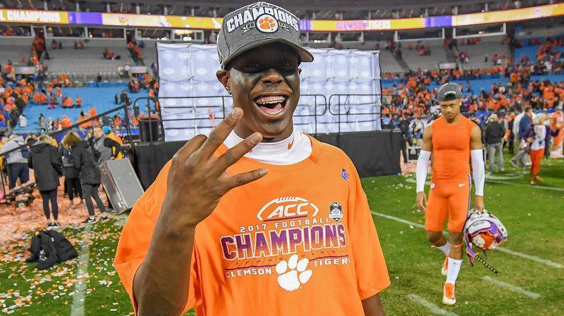 Etienne celebrates Clemson's win over Miami in the ACC Championship