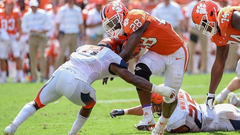 Tavien Feaster runs for tough yards late against Syracuse