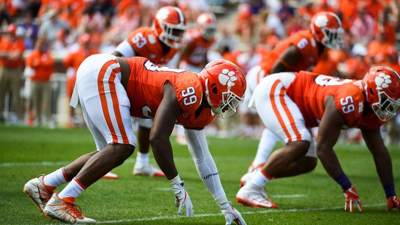 Clelin Ferrell lines up during Clemson's spring game (Photo by Adam Hagy, USA Today)
