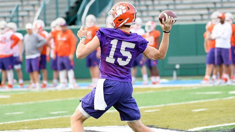 Hunter Johnson throws during practice for the Sugar Bowl
