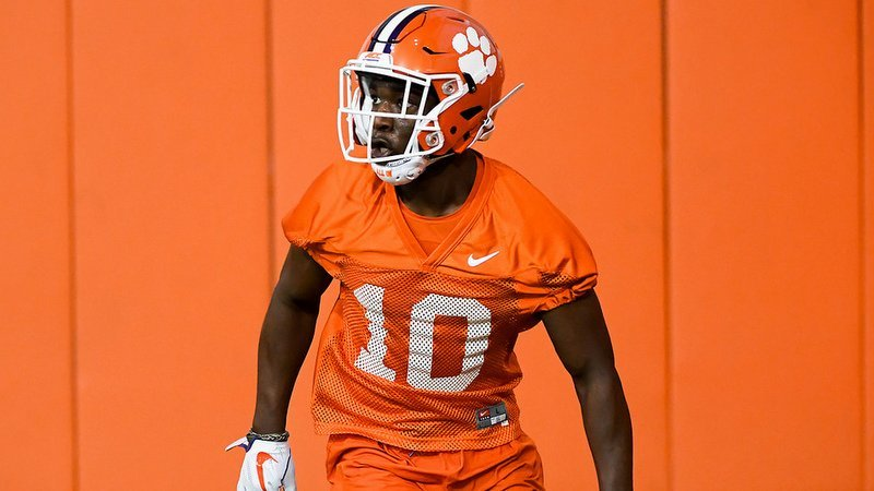 Kendrick runs a route the first day of spring practice