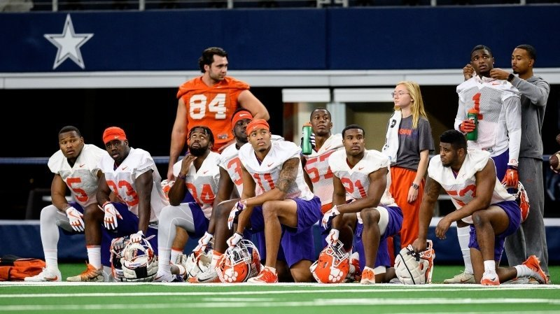 Clemson players watch practice at AT&T Stadium this week