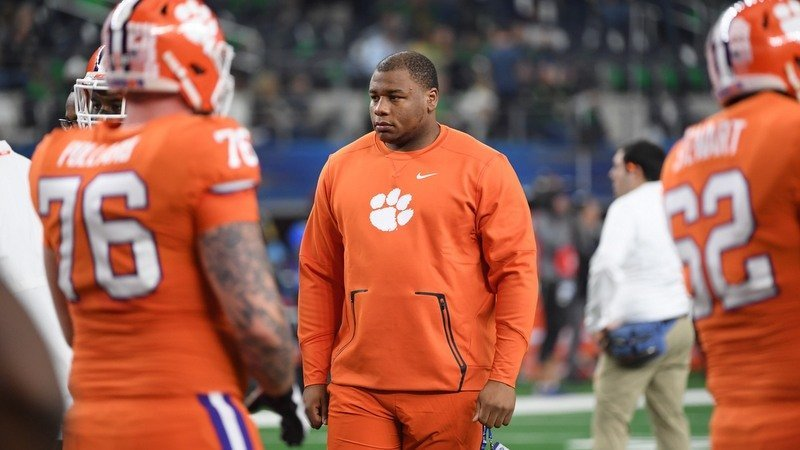 Dexter Lawrence on the sidelines before Clemson's Cotton Bowl win