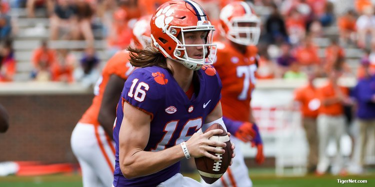 Trevor Lawrence looks for a receiver Saturday