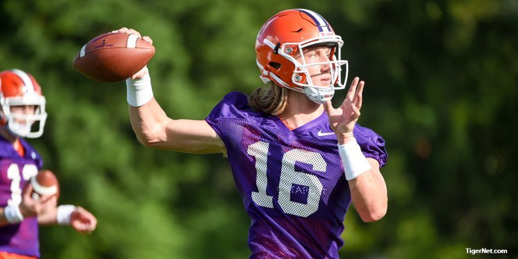 Trevor Lawrence throws during the early portion of practice
