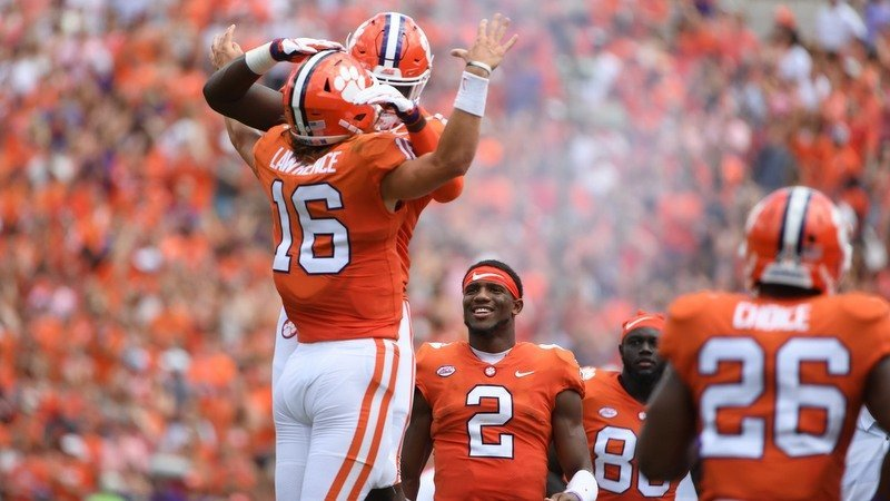 Lawrence jumps for a joy after the first touchdown pass of his career