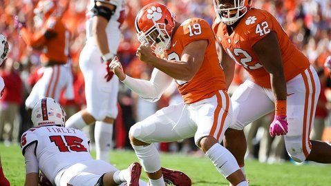 Tanner Muse celebrates a play against NC State last season.