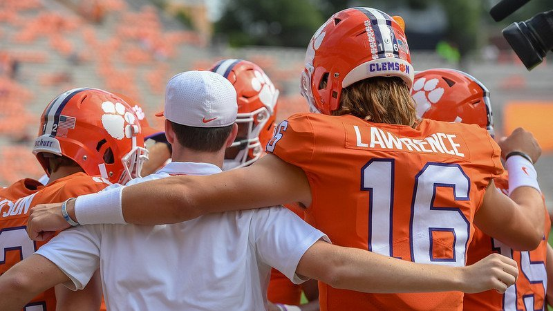 Clemson players huddle before Saturdays win over Georgia Southern