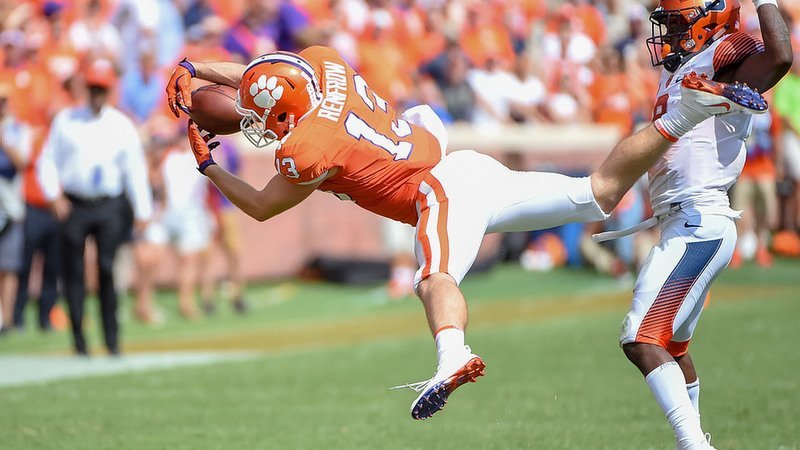 Renfrow makes an acrobatic catch against Syracuse last Saturday