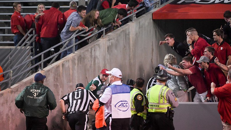 NC State fans show their displeasure to the officials last year in Raleigh