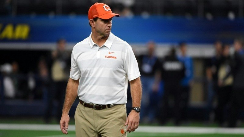 Swinney scans the field shortly before kickoff at the Cotton Bowl Saturday