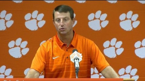 Clemson head coach Dabo Swinney says the Tigers have a challenge this week.