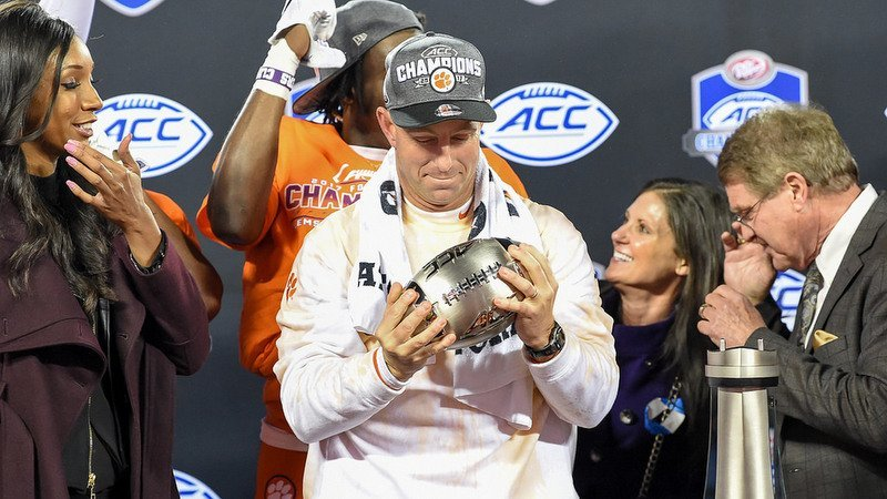 We all can only hope we have someone look at us the way Swinney looks at the ACC trophy