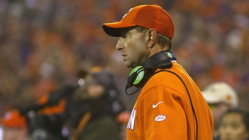 Clemson head coach Dabo Swinney glares at an official during the win over the Gamecocks (Photo by Josh Kelly, USAT)