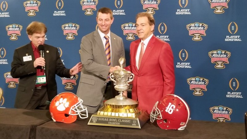 Saban and Swinney shakes hands Sunday