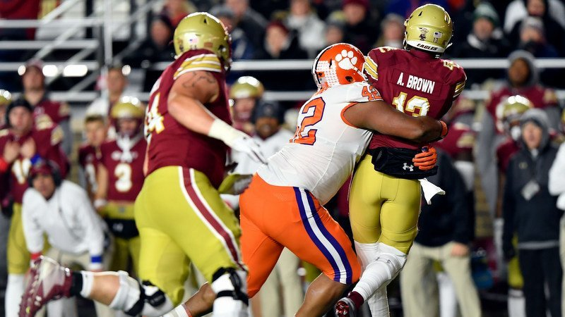 Christian Wilkins takes down BC quarterback Anthony Brown (Photo by Jason Fluharty, USAT)