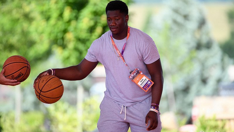 Orhorhoro plays pickup basketball Thursday at Clemson's operations building