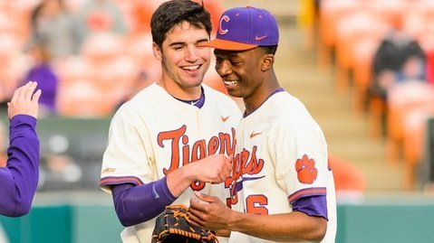 Two freshman in Davis Sharpe, left, and Keyshawn Askew, right, are bookends in the Clemson rotation.