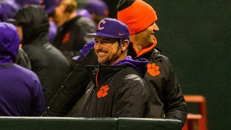 Monte Lee is all smiles in the dugout Saturday (Photo by David Grooms)