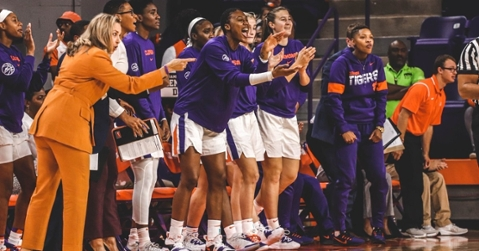 The Lady Tigers react during the win over Furman (Photo courtesy of Clemson Women's Basketball)