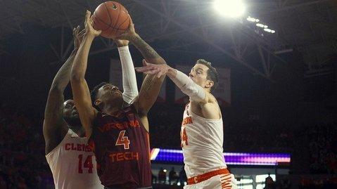Clemson defeated Virginia Tech 59-51 (Photo by Joshua S. Kelly, USA Today)