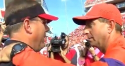 WATCH: Dabo Swinney apologizes to UL head coach for punch by Clemson DB