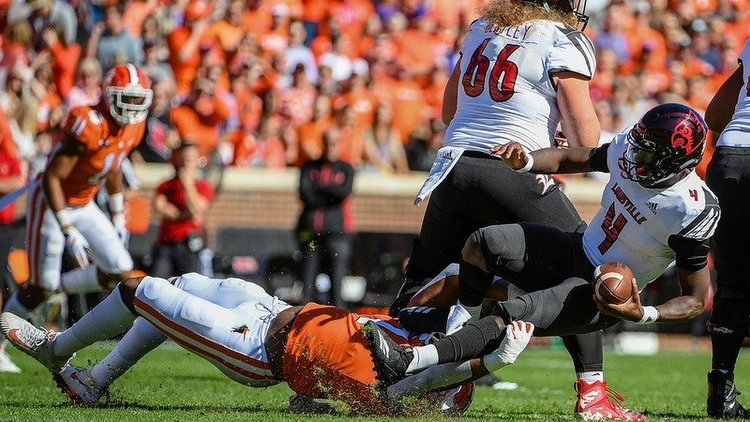 Bryant was injured on this play against Louisville