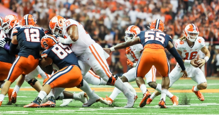 Jackson Carman (79) has anchored the left side of Clemson's offensive line.
