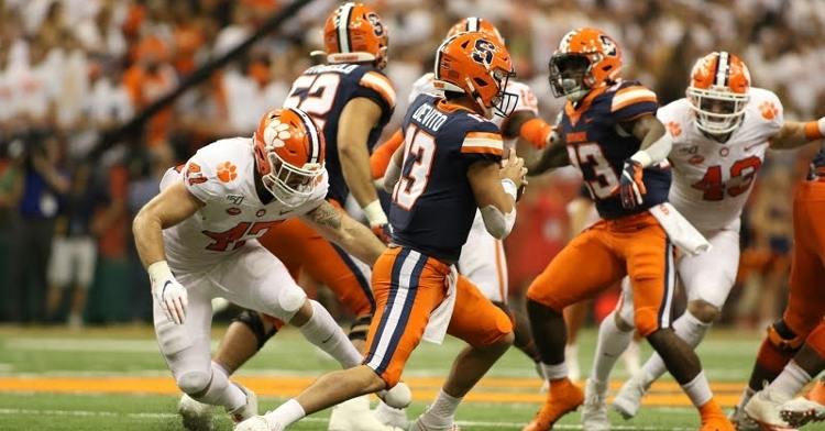 Clemson's defense held Syracuse without a touchdown (Photo by Susan Lloyd)